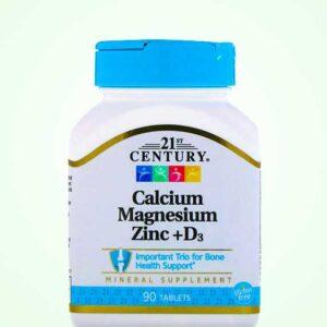 اقراص الكالسيوم المغنيسيوم الزنك – 90 قرص + D3 | 21st century